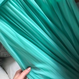 Mint green long silk bridesmaids/prom dress